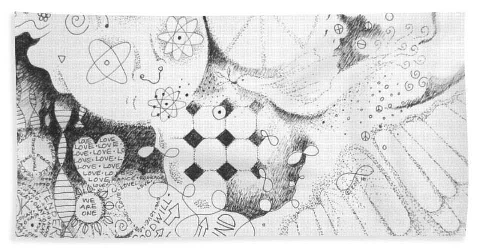 Peace Beach Towel featuring the drawing Peace Rules by Helena Tiainen