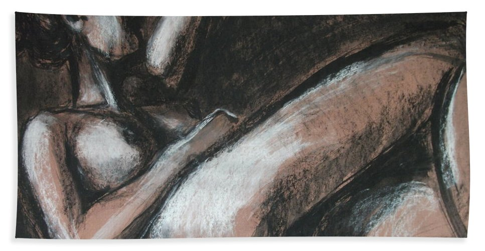 Original Beach Towel featuring the drawing Peaceful by Carmen Tyrrell