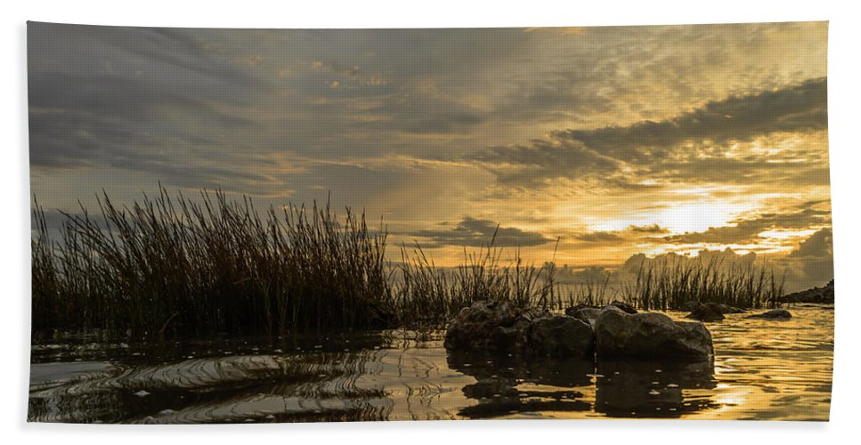Sunrise Beach Towel featuring the photograph Peaceful Clouds by Leticia Latocki