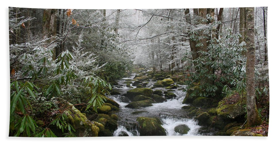 Forest Wood Woods Nature Green White Snow Winter Season Creek River Stream Flow Rock Tree Rush Beach Towel featuring the photograph Peaceful Flow by Andrei Shliakhau