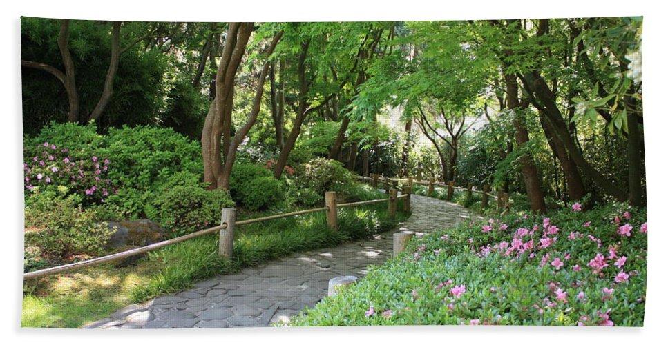 Garden Path Beach Sheet featuring the photograph Peaceful Garden Path by Carol Groenen
