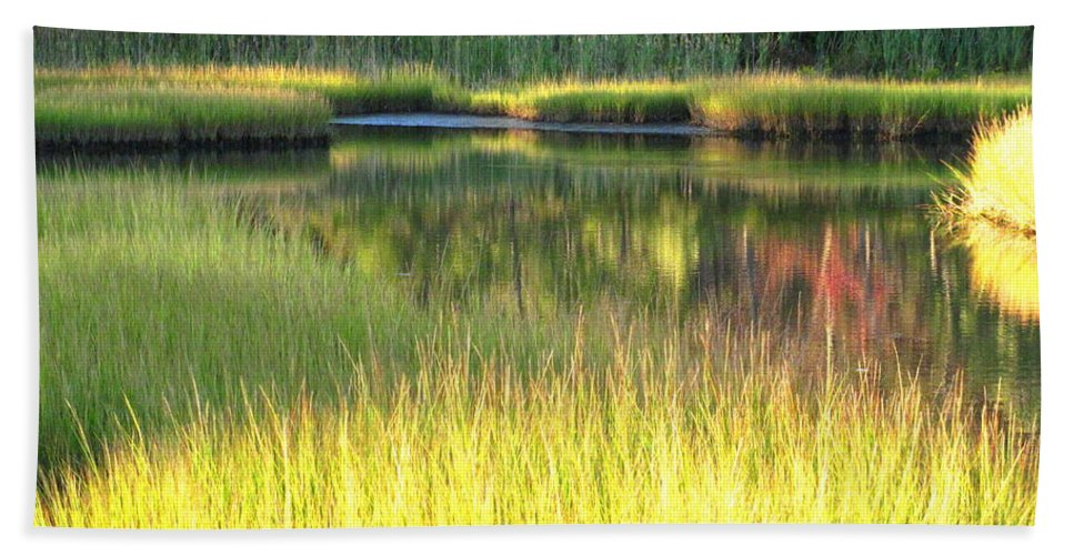Water Beach Towel featuring the photograph Peaceful Marsh by Sybil Staples