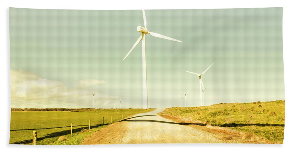 Farm Beach Towel featuring the photograph Peaceful Pastel Wind Farm by Jorgo Photography - Wall Art Gallery