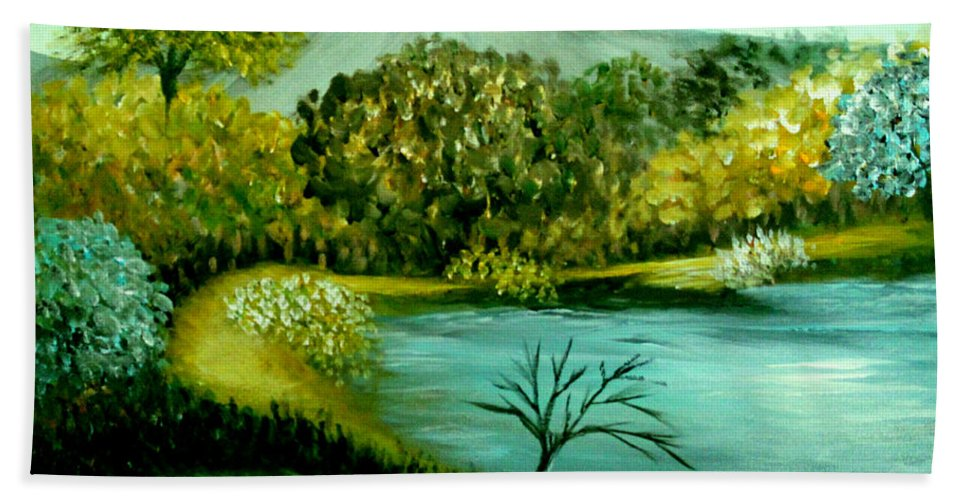 Landscape Beach Towel featuring the painting Peaceful Waters 2 by Sandra Young Servis