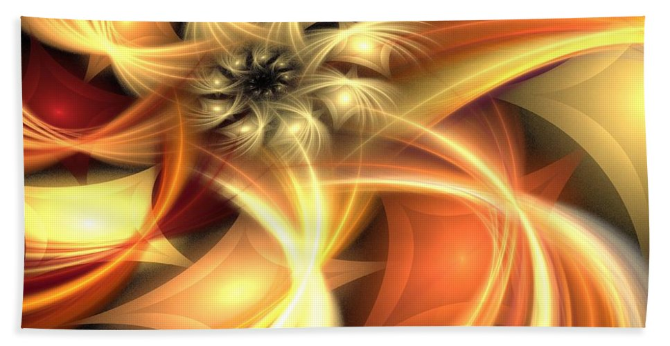 Apophysis Beach Towel featuring the digital art Peach Gold Nautilus by Kim Sy Ok