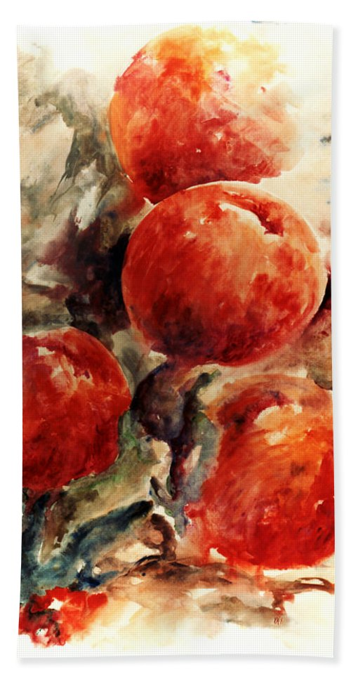 Abstract Beach Towel featuring the painting Peaches by Rachel Christine Nowicki
