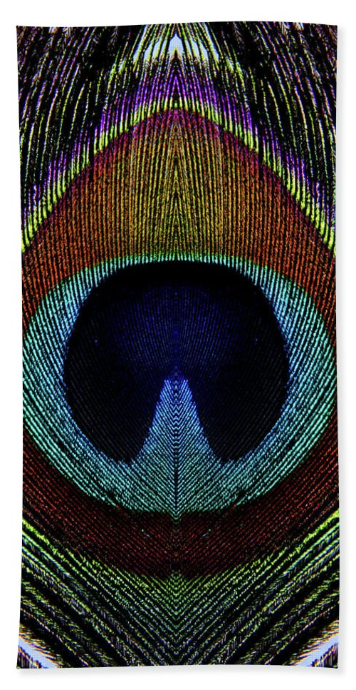 Photograph Beach Towel featuring the photograph Peacock 1 by Stormshade Designs