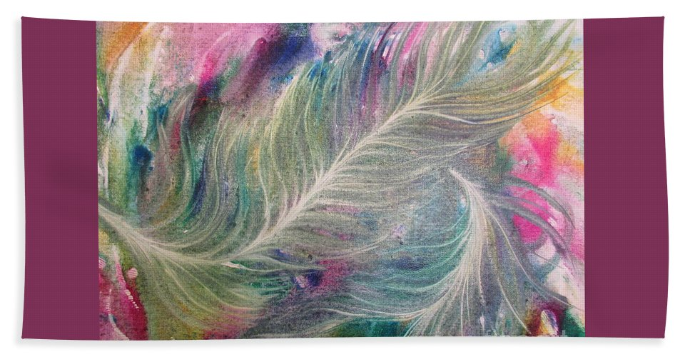 Peacock Feathers Beach Towel featuring the painting Peacock Feathers Pastel by Denise Hoag