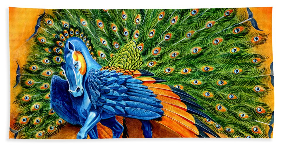 Horse Beach Towel featuring the painting Peacock Pegasus by Melissa A Benson