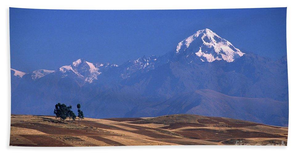 Peru Beach Towel featuring the photograph Peaks And Fields Near Cusco Peru by James Brunker