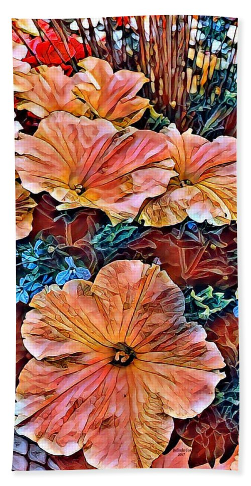 Digital Art Beach Towel featuring the digital art Peanies Flower Blossom by Artful Oasis