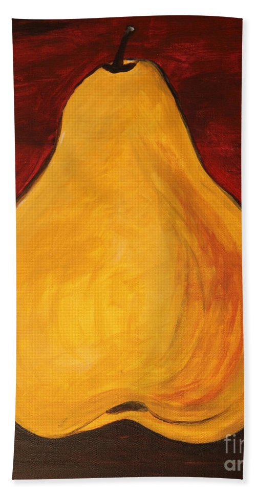 Pears Beach Towel featuring the painting Pear by Amanda Barcon