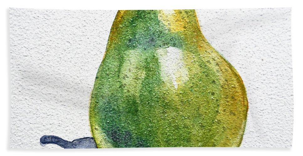 Pear Beach Towel featuring the painting Pear by Irina Sztukowski