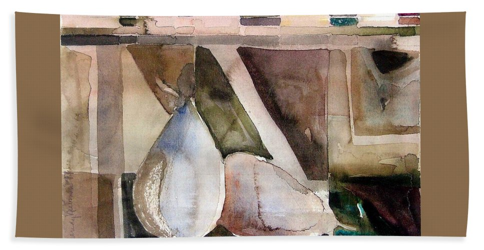 Pear Beach Towel featuring the painting Pear Study In Watercolor by Mindy Newman