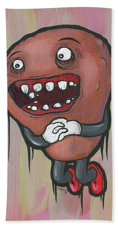 Monster Beach Towel featuring the painting Pear Troll by Tim Boyd