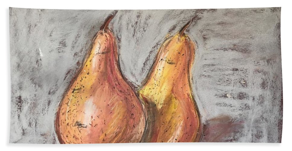 Pear Beach Towel featuring the pastel Pears by Renata Mantel