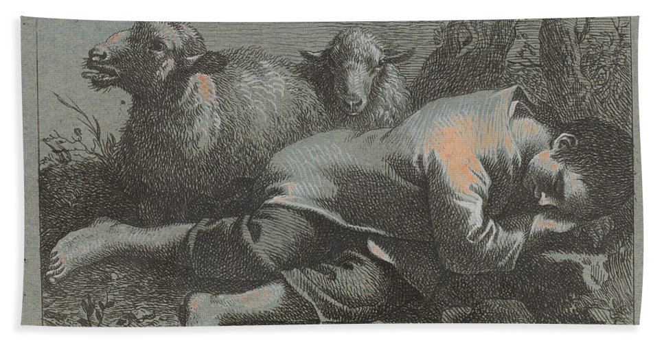 Beach Towel featuring the drawing Peasant Boy Asleep Near Two Sheep by Francesco Londonio
