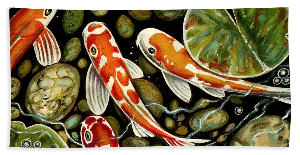 Koi Fish Beach Towel featuring the painting Pebbles And Koi by Elizabeth Robinette Tyndall
