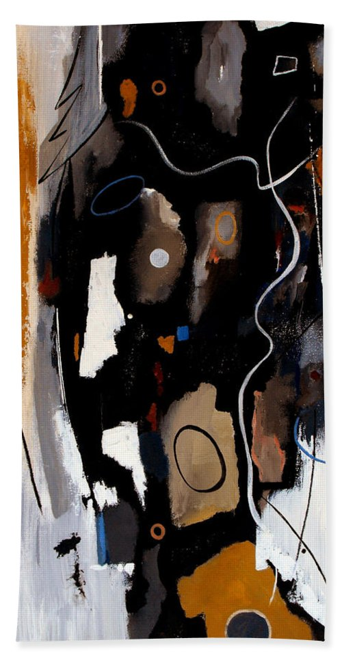 Abstract Beach Towel featuring the painting Pebbles In The Stream by Ruth Palmer