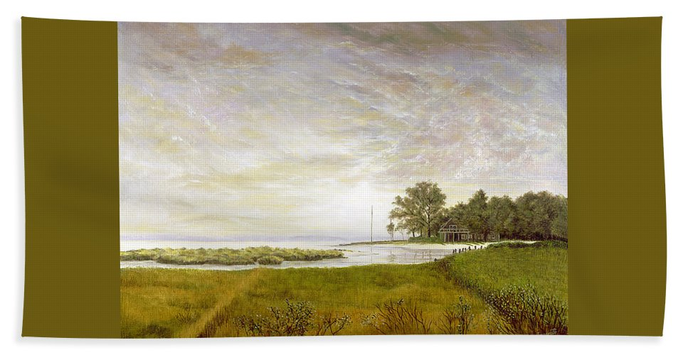 Beach Towel featuring the painting Peconic Sunrise by Tony Scarmato