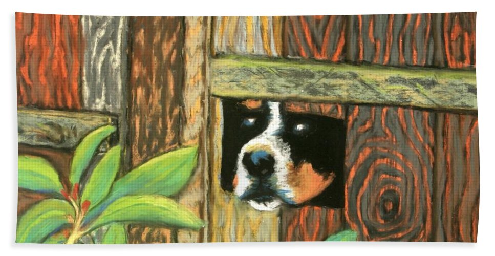 Dog Beach Towel featuring the painting Peek-a-boo Fence by Minaz Jantz