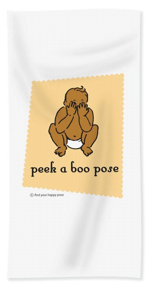Yoga Art Beach Towel featuring the digital art Peek A Boo Pose 2 by Patti And Lori