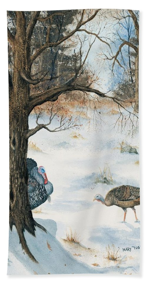 Turkey Beach Towel featuring the painting Peeping Tom by Mary Tuomi