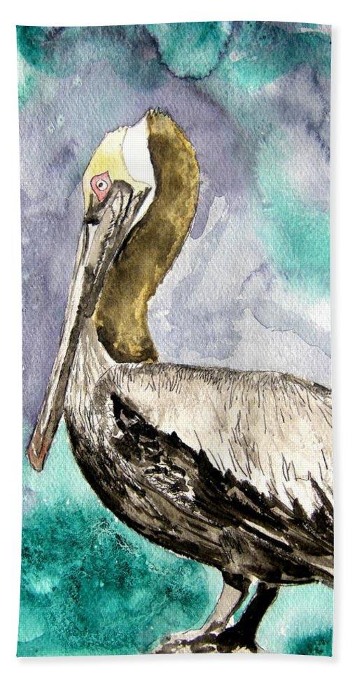 Pelican Beach Towel featuring the painting Pelican by Derek Mccrea