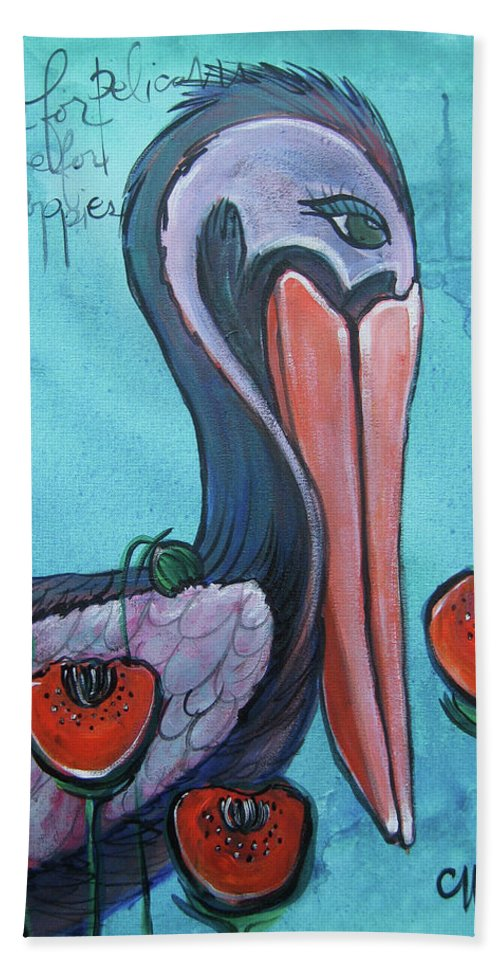 Pelicans Beach Towel featuring the painting Pelican Poppies 1 by Laurie Maves ART