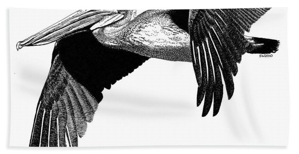 Pelican Beach Towel featuring the drawing Pelican by Scott Woyak