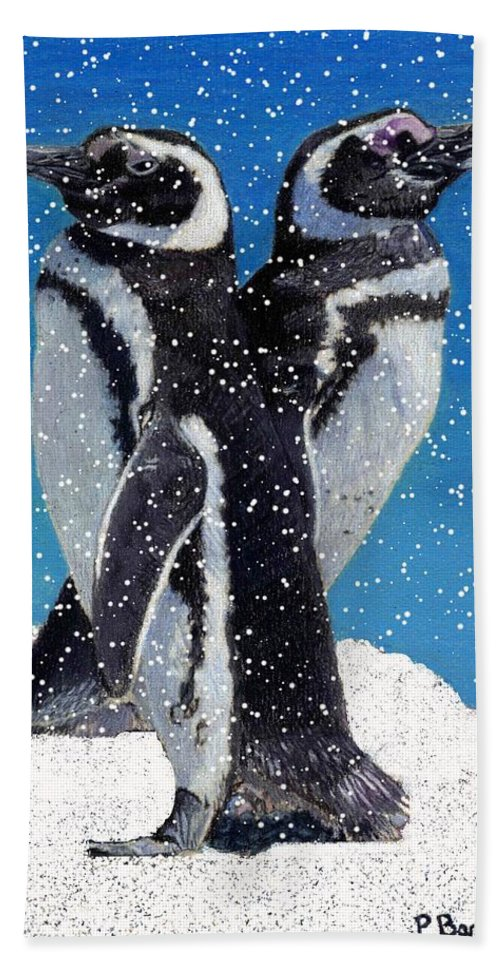 Snow Beach Towel featuring the painting Penguins In The Snow by Patricia Barmatz