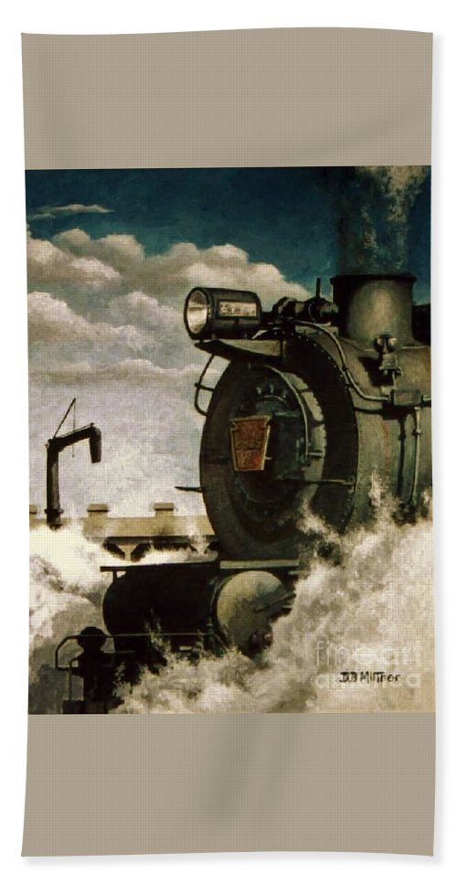 Pennsylvania Railroad Prr Train Painting Railroad Maryland And Pennsylvania Autumn Fall Colors Steam Engine Beach Towel featuring the painting Pennsy M1 by David Mittner