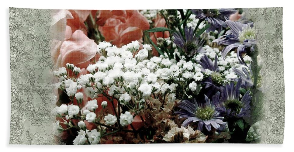 Flowers Beach Towel featuring the painting Penny Postcard Romantica by RC DeWinter