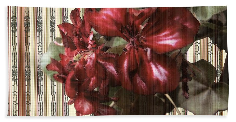 Flowers Beach Towel featuring the painting Penny Postcard Striped by RC DeWinter