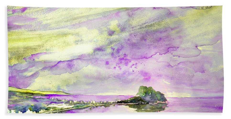 Watercolour Beach Towel featuring the painting Penon De Ifach In Calpe 02 by Miki De Goodaboom