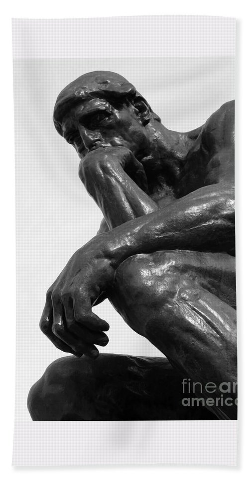 The Thinker Beach Towel featuring the photograph Pensive by Ann Horn