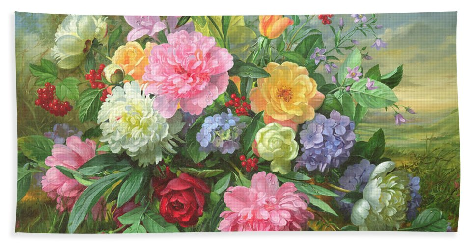 Peonies Beach Towel featuring the painting Peonies And Hydrangea by Albert Williams