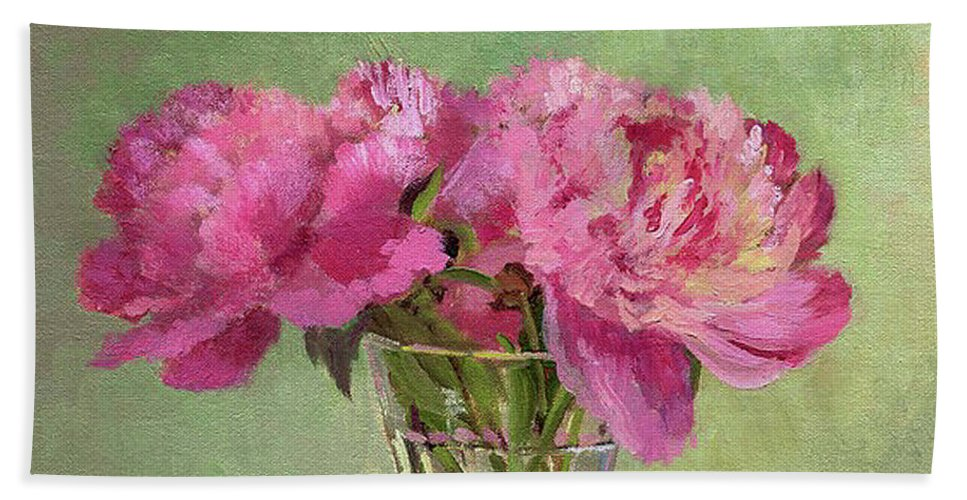 Still Beach Towel featuring the painting Peonies In Tumbler by Keith Burgess
