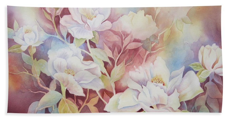 Peony Beach Towel featuring the painting Peony Paradise by Deborah Ronglien