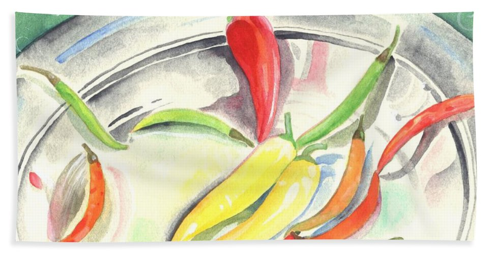 Hot Peppers Beach Towel featuring the painting Pepper Play by Helena Tiainen