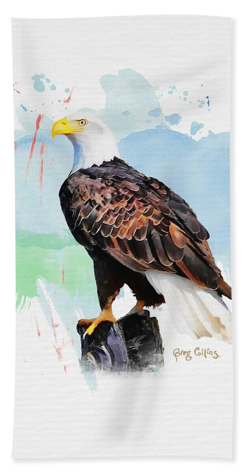 Bald Eagle Beach Towel featuring the painting Perched Eagle by Greg Collins