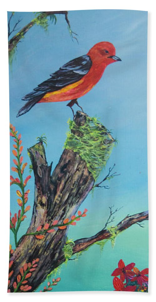 Perched Beach Towel featuring the painting Perched by Janiene Facey