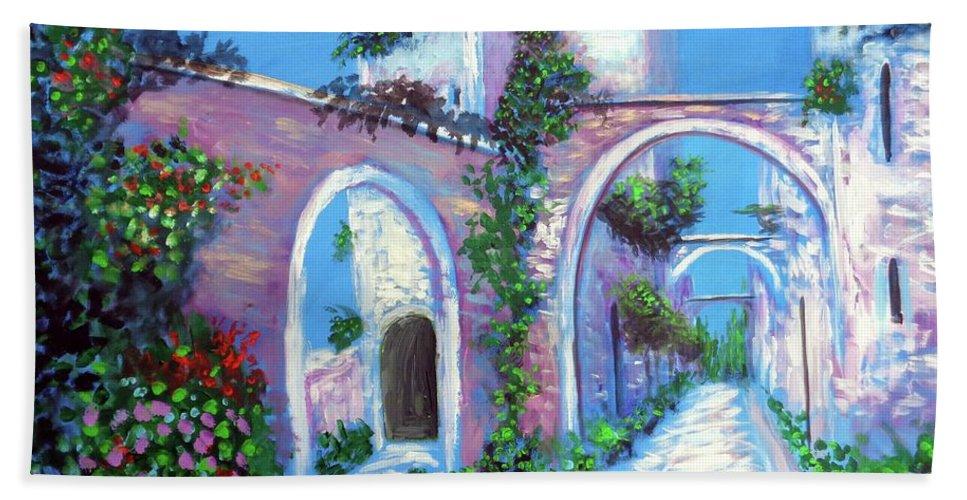 Cirigliano Beach Towel featuring the painting Percorso Paradiso by Larry Cirigliano