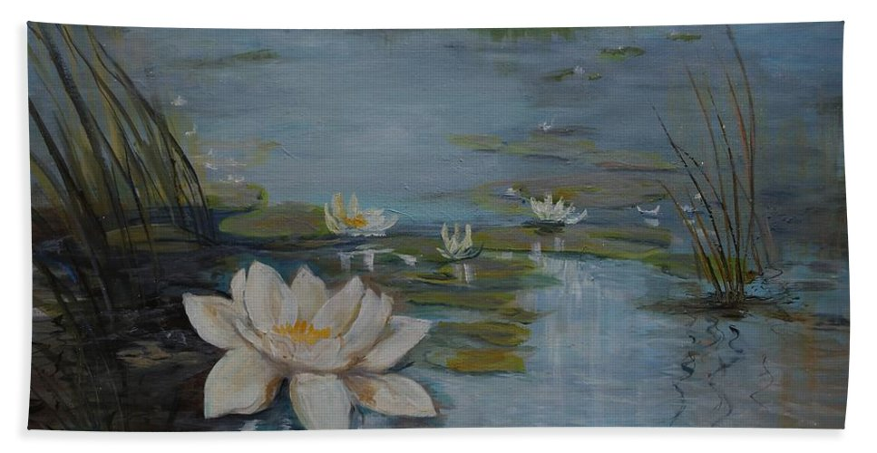 Water Lily Beach Towel featuring the painting Perfect Lotus - Lmj by Ruth Kamenev