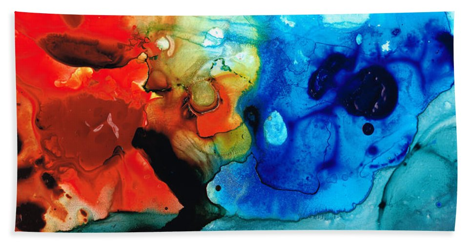 Abstract Art Beach Sheet featuring the painting Perfect Whole And Complete By Sharon Cummings by Sharon Cummings