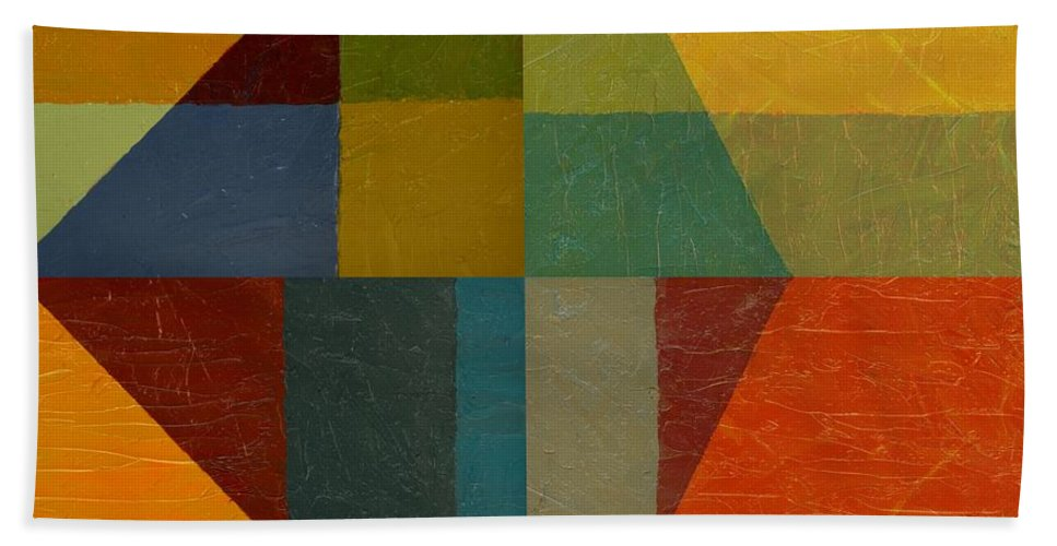 Abstract Beach Towel featuring the painting Perspective In Color Collage by Michelle Calkins