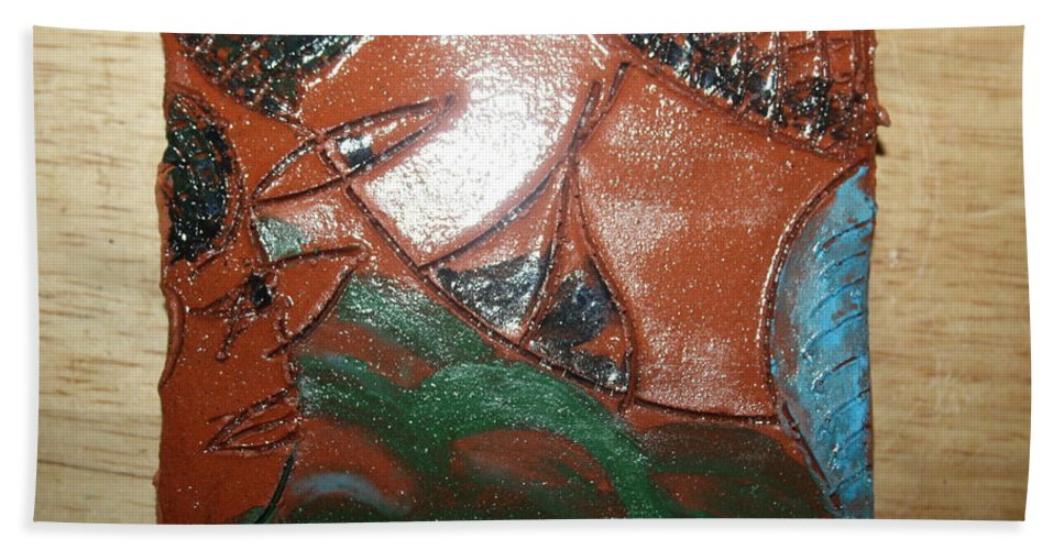 Jesus Beach Towel featuring the ceramic art Petals - Tile by Gloria Ssali