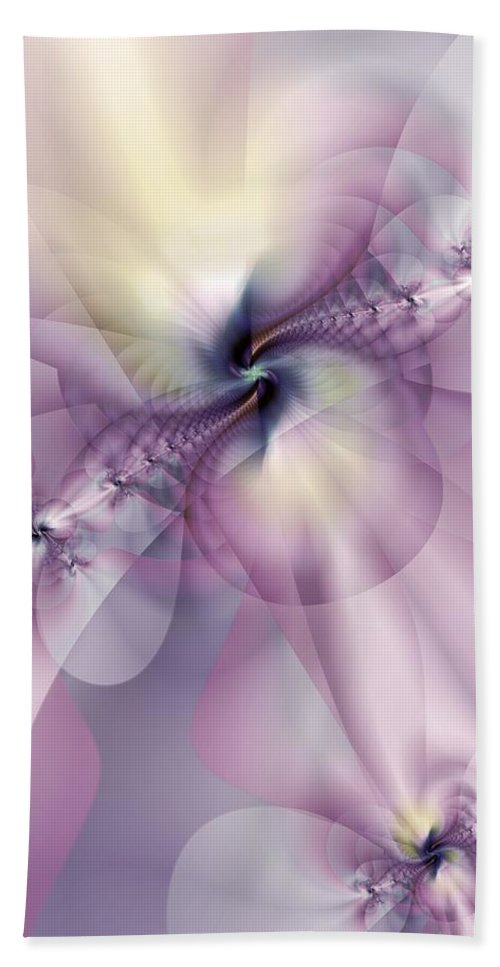 Abstract Beach Towel featuring the digital art Petals Of Pulchritude by Casey Kotas