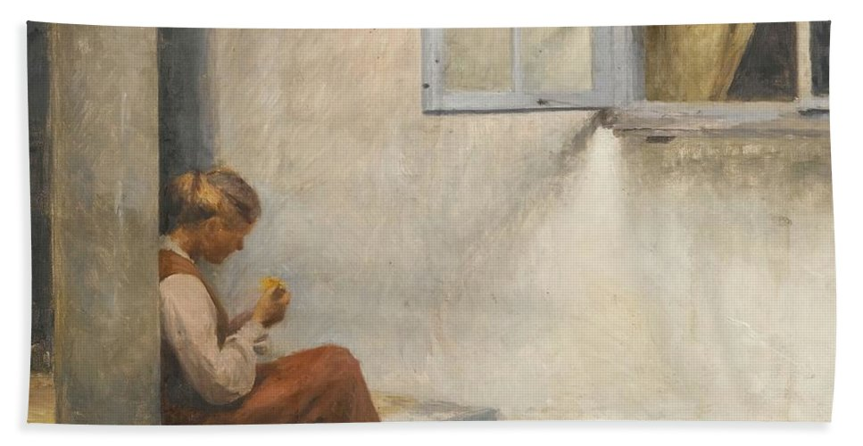 Girl Beach Towel featuring the painting Peter Ilsted Danish, 1861-1933, On The Porch, Liselund by Artistic Rifki