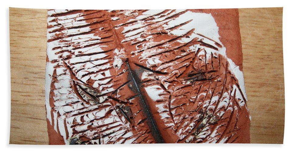 Jesus Beach Towel featuring the ceramic art Peter N Katie - Tile by Gloria Ssali